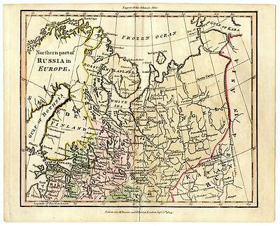 1804 Copper Engraving Hand Colored Map Northern Russia Europe Finland Asia
