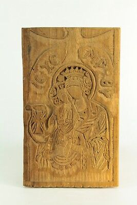 ! Antique Greek Orthodox Carved Wooden Icon Mother & Child Mary Treen Ware