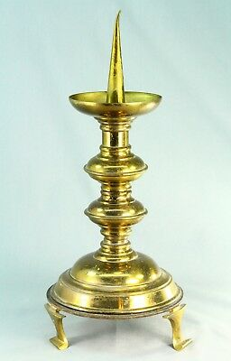 "! Antique 1800's GOTHIC REVIVAL Brass Pricket Candle Holder Candlestick 14"" #1"