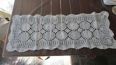 Vintage White Lace pretty  Table Runner Rectangle Doiley 93cms x  34cms ,