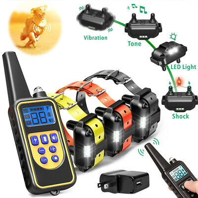1/2/3 Dog Shock Pet Training Collar Remote Control Waterproof Electric 880 Yard