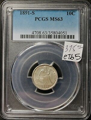 1891-s Seated Liberty Dime.  In PCGS Holder.  MS63.    e765