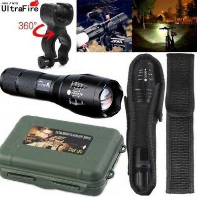 Ultrafire Flashlight 50000LM T6 LED Light Zoom Tactical 18650 Torch Holder Set*