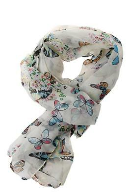 Women Ladies Chiffon Butterfly Print Neck Shawl Scarf Scarves Wrap Stole Warm DP