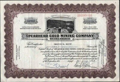 Spearhead Gold Mining Co, Reorganized, 1926, Silver City, Nevada, Uncancelled