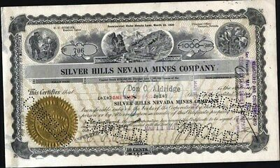 Silver Hills Nevada Mines Co, Tonopah, 1921, Cancelled Stock Certificate