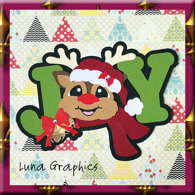 JOY REINDEER Embellishment Card toppers &  Paper Piecing scrapbooking