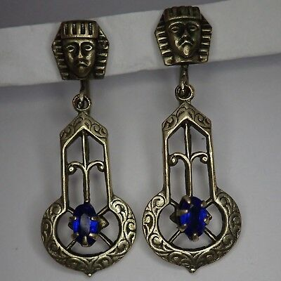 Antique Art Deco Egyptian Revival Gilt Brass Sapphire Paste Dangle Earrings