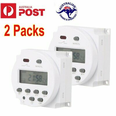 2 LCD Digital Programmable Timer Switch DC 12V Time Relay 24 Hour Day Weekly AU
