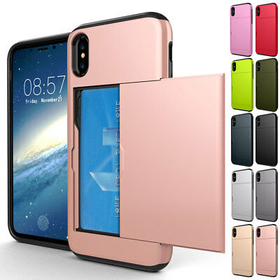 For iPhone X 8 7 6s 6 Plus Shockproof Phone Case with Credit Card Holder Cover