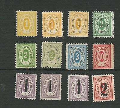 DENMARK 1880's. HORSENS LOCAL TELEPHONE STAMPS. 12 MAINLY DIFFERENT. MH/MNG/GU
