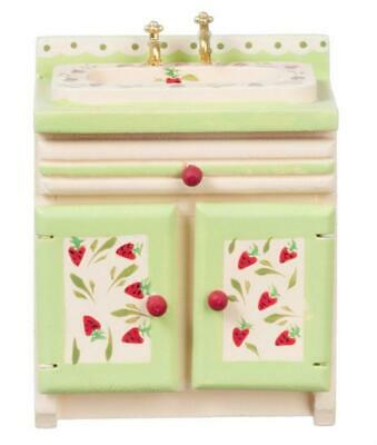 Dolls House Strawberry Sink Unit Hand Painted Miniature 1:12 Kitchen Furniture