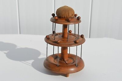 Antique Attractive 3-Tiered Sewing Stand / Spool Holder W/pin Cushion,folk Art