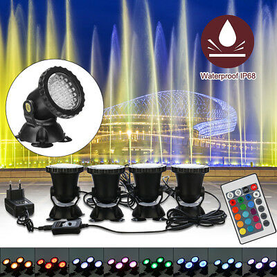 4Pcs Submersible 36LED RGB Pond Spot Lights for Underwater Pool Fountain Pond