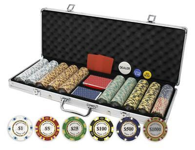 Da Vinci Monte Carlo Poker Club Set of 500 14 Gram 3-Tone Chips w/Aluminum Case