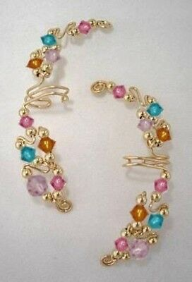 Ear Wraps Cuffs Climbers Earrings Gold with Swarovski Assorted Crystals #GEW-100