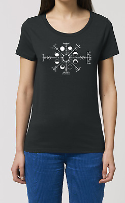Ladies T-Shirt MOON PHASES II Space Science Astrology Solar System Novelty Top