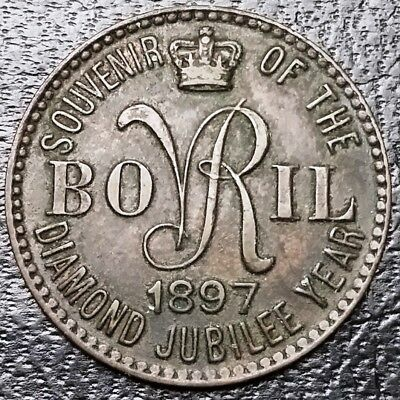 1897 UK Great Britain Bovril Dog Food Token Diamond Jubilee Year - High Grade