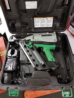 Hitachi Nr90Gc2 Nail Gun C/w 2 Battery, A Charger & Case Gwo Just Serviced