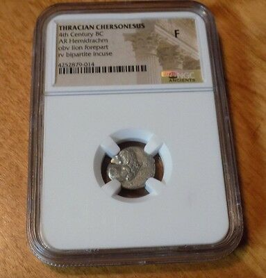 THRACIAN CHERSONESUS 4th Century BC Lion Hemidrachm NGC F Ancient World Coin