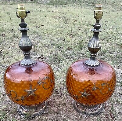 Pair Vintage Table Lamps Amber Glass Mid Century Hollywood Regency mcm retro