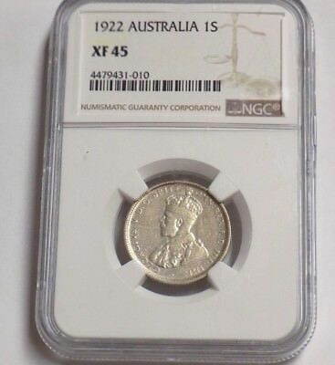 1922 AUSTRALIA ONE SHILLING 1S NGC XF45 XF 45 Australian Certified Graded Coin