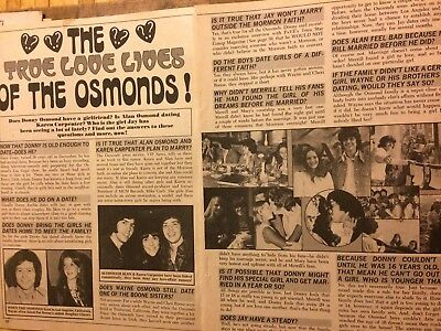 The Osmonds Brothers, Donny Osmond, Two Page Vintage Clipping
