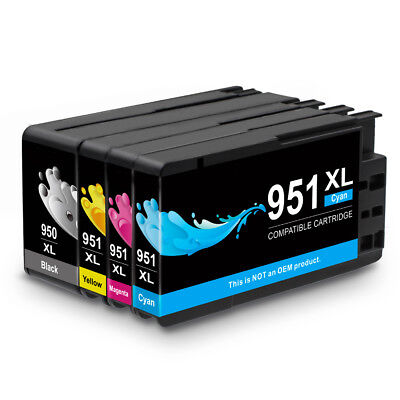 4 Pack 950 XL 951 XL Black and Color Ink Cartridges for HP OfficeJet Pro Printer