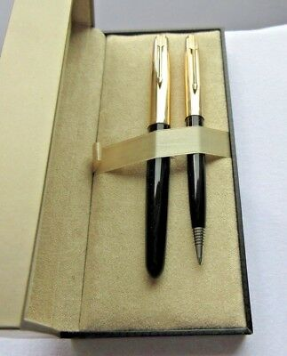 Extremely Nice Pair Parker 51 Pens..fountain & Mechanical Pencil Fine Gold Nib
