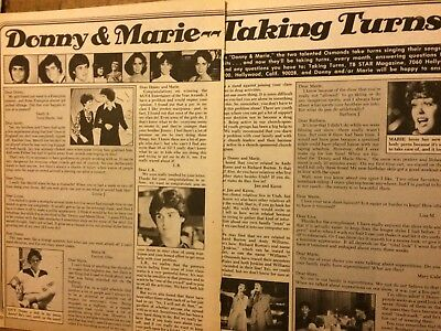 Donny and Marie Osmond, Osmonds Brothers, Two Page Vintage Clipping