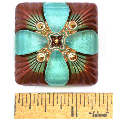 XXL 34mm Vintage Czech Glass FOCAL 3D SQUARE TURQUOISE Copper Medallion Button