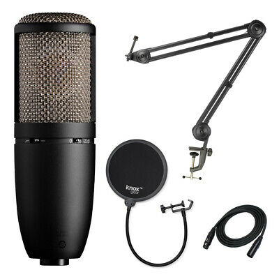 AKG P420 Condenser Microphone with Knox Studio Stand and Pop Filter Bundle