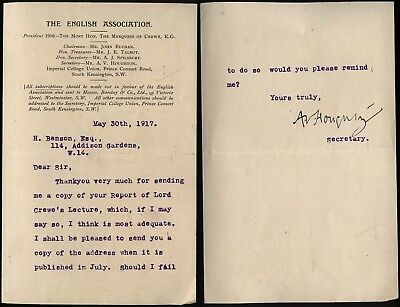 1917 THE ENGLISH ASSOCIATION, South Kensington Letter from A.V.Houghton