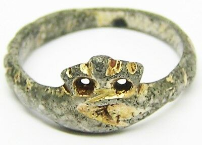 15th century Medieval Silver Gilt Betrothal Ring Clasped Hands Crown Size 9 1/2