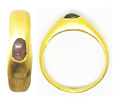 Nice 13th century Medieval Gold & Amethyst Stirrup Ring Wearable Size 7 1/4