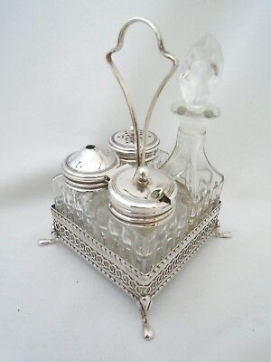 Lovely Vintage Cruet Set in a Silver Plated Stand