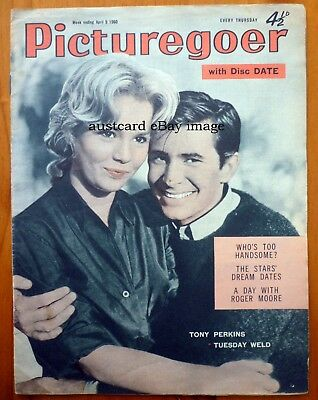 PICTUREGOER MAGAZINE April 9th 1960 Tony Perkins, Tuesday Weld, Kay Kendall