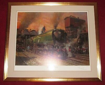 Terence Cuneo SIGNED steam locomotive Print WINSTON CHURCHILL & CERTIFICATE