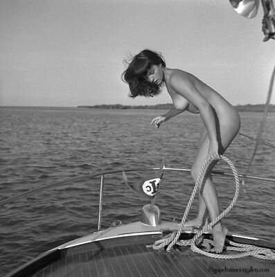 Bettie Page Original 1954 Camera Negative Bunny Yeager Nude Boating w/Copyright