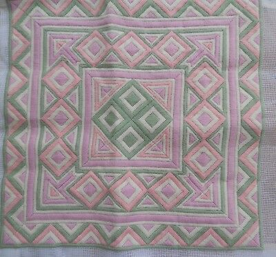 2 Completed Tapestry Cushion Fronts ~ Approx 40Cm Square ~ Pastel Colours