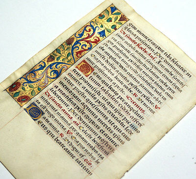 ILLUMINATED MANUSCRIPT BOOK OF HOURS LEAF 1470 GOLD BORDERS, ST ANTHONY of PADUA