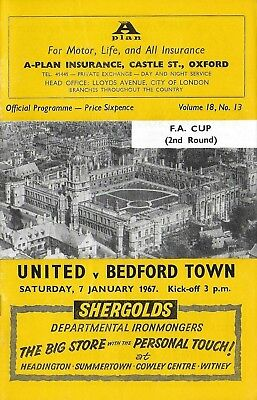 Football Programme>OXFORD UNITED v BEDFORD TOWN Jan 1967 FAC
