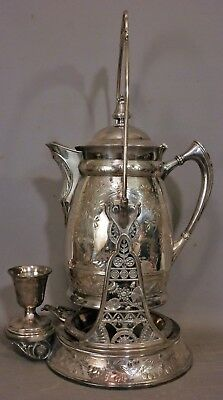 19thC Antique VICTORIAN QUADRUPLE Plate ROGERS SILVER Old TILTING Water PITCHER