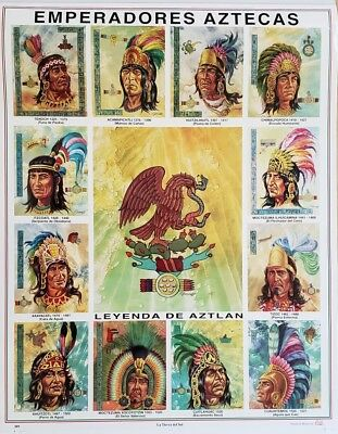 Bilingual! Aztec emperors mexican art calendar with info in the back on each one