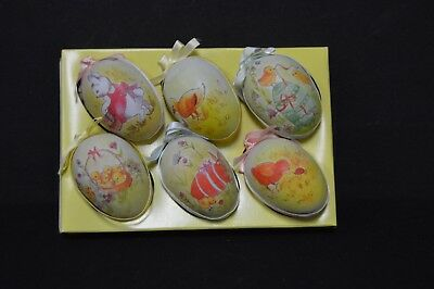 Vintage Hand Painted Easter Egg Tree Decorations, Set of 6, Spring Has Hatched