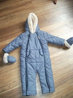 Mini Club Boots romper snowsuit coat Padded/Wadded/Fleece Hood Mitts 12-18 month