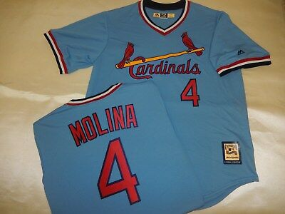 best service cbeef 94a70 8719 ST. LOUIS Cardinals YADIER MOLINA Throwback Vintage Baby Blue JERSEY  New LG
