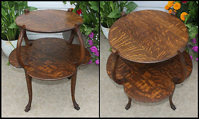 Antique Quarter Sawn Oak 2 Scalloped Tier Center Accent Table Carved Claw Feet
