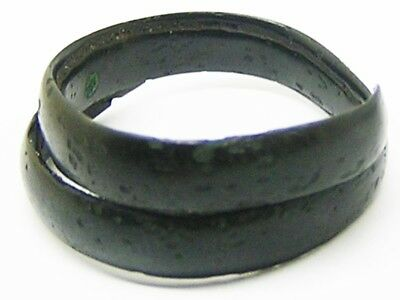 1500 - 1150 B.C. Nice Excavated Middle Bronze Age Coiled Finger Ring Size 10
