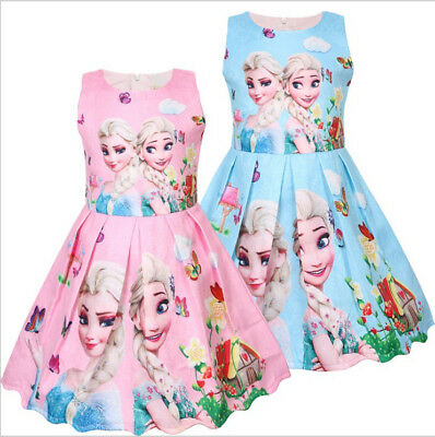 New Girls Frozen Princess Dress Kids Party Birthday Dress Costume Gift